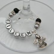Detailed Angel Personalised Wine Glass Charm - Elegance Style